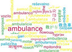 Ambulance multilanguage wordcloud background concept - stock illustration