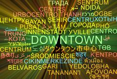 Downtown multilanguage wordcloud background concept glowing Stock Illustration