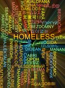 Homeless multilanguage wordcloud background concept glowing - stock illustration