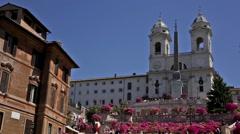 Trinita dei Monti on a sunny day Stock Footage