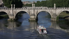 Barge under Ponte Sant'Angelo Stock Footage
