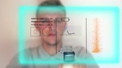 Use Futuristic Hologram Interface. Virtual Hi-Tech Concept - stock footage