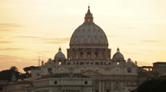 Dome of St Peter's before orange sunset Stock Footage