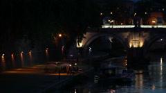Panning shot of bridge in front of San Pietro in Vatican City Stock Footage