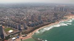 Tel Aviv and the Mediterranean Sea Aerial Stock Footage
