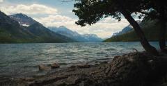 4K - Beautiful lake in waterton park BC Stock Footage