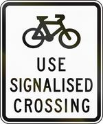 Cyclists Use Signalised Crossing In Australia Stock Illustration