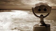 Old film footage: observation telescope on the seaside Stock Footage