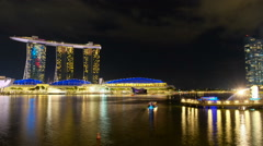 Time lapse night light of Marina bay sand Stock Footage