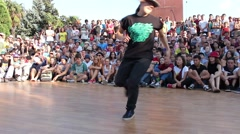 Dance party. Break dancers on the festival Stock Footage