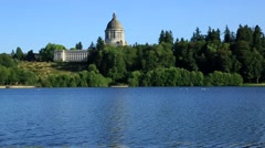 Capitol Olympia, nice summer day, blue water Stock Footage