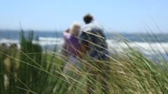 Elderly couple standing on sea shore Stock Footage