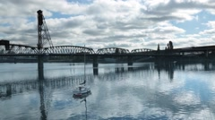Willamette river, Portland, lonely boat Stock Footage