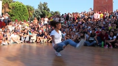 African ethnicity b-girl. Hip Hop Break Dance Stock Footage