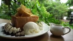 Honey toast with vanilla ice cream Stock Footage