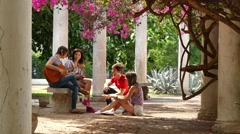 10 Group Of College Students Friends Singing Song Having Fun - stock footage