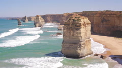 Wide view of the Twelve Apostles Stock Footage