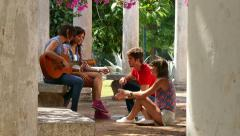 11 Young People Friends Students Laughing Singing Playing Guitar Music Stock Footage