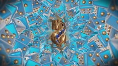 Casino Lucky Dollar Blue Background Stock Footage