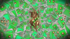 Casino Lucky Dollar Green Background Stock Footage
