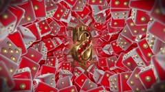 Casino Lucky Dollar Red Background Stock Footage