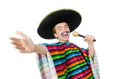 Funny young mexican sings isolated on white Stock Photos