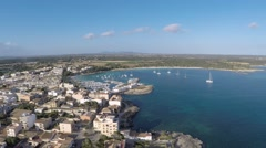 Beautiful village by the Sea - Aerial Flight Stock Footage