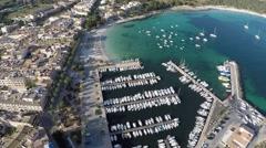 Flying over beautiful Marina - Aerial Flight Stock Footage