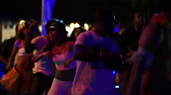 Dancing on the beach in Punta Cana at night Stock Footage