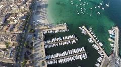 Beautiful Mediterranean Marina - Aerial Flight Stock Footage