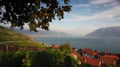 Vineyards of the Lavaux region over lake Leman (lake of Geneva),Switzerland Stock Footage