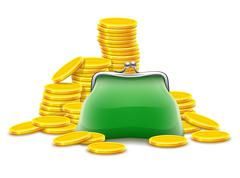 Purse and gold coins cash money Stock Illustration