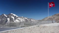 View from the Diavolezza to the mountains and glaciers,Switzerland Stock Footage