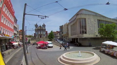 Porto Tour Bus View Sao Ildefonso Church Square Stock Footage