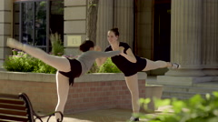 Ballerinas Practice A Tricky Move, They Make A Mistake And Fall, They Laugh (4K) Stock Footage