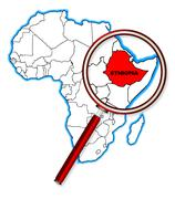 Ethiopia Under A Magnifying Glass Stock Illustration