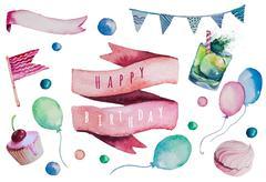 Watercolor Happy birthday set. Hand drawn vintage celebration ob - stock illustration