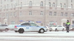 Moscow, Russia, 2015 - russian police patrol in the winter street. Stock Footage