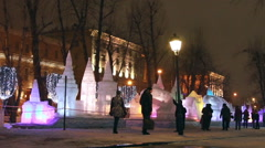 Ice sculptures in Moscow, Russia. Stock Footage