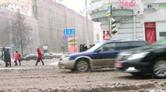 Moscow, Russia, 2015 - winter street in the city Stock Footage