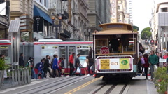 Passengers riding on Powell-Hyde line cable car in San Francisco, California Stock Footage