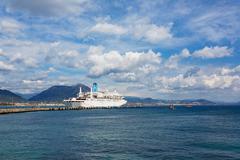 Cruise ship in Alanya harbor Stock Photos
