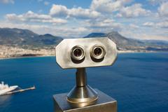 Binoculars for tourists in Alanya Stock Photos