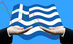 Creditors ask for pay dept, Financial Crisis in Greece concept Stock Photos