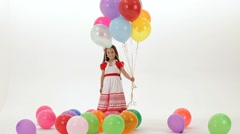 Girl With Colorful Balloons Stock Footage