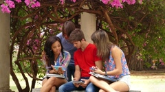 20 Happy Friends Young People Having Fun With Mobile Phone - stock footage