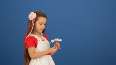 Girl And Flower Stock Footage