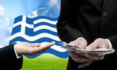 Creditor offer more loan, Greece's Debt Crisis concept Stock Photos