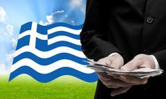 Creditor offer more loan, Greece's Debt Crisis concept Stock Photos