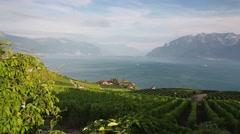 Vineyards of the Lavaux region over lake Leman (lake of Geneva),Switzerland Stock Footage